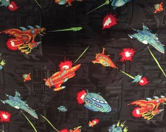 Space Ships Cotton Fabric by the Yard