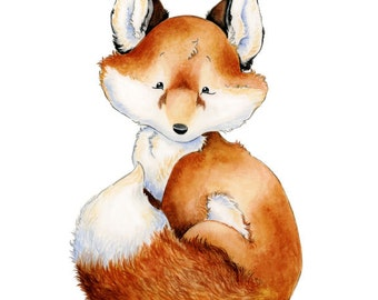 Fox Nursery Art, Baby Fox Art, Watercolor Nursery, Woodland Nursery, Forest Friends, Nursery Art, Nursery Decor, Fox Art Print, Baby Fox