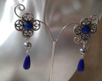 """Silver flower and drop"" earrings"