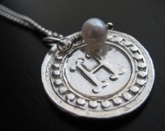 Fine Silver Wax Stamp Initial Seal Necklace with Freshwater Pearl