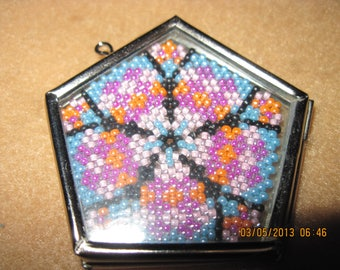 """Peyote Stitched Pentagon Flower in Silver & Glass """"Locket"""" Pendant...1 of a kind...hand made...1390h"""