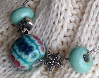 casual lampwork bead  necklace stainless steel necklace