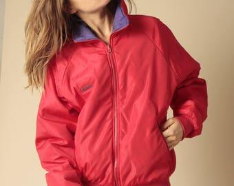 90s COLOR BLOCK neon womens SKI purple & red rain coat columbia Jacket