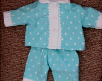 "Baby Doll Set Aqua Blue White Flannel Diamond Print Pajamas Fits Bitty Baby or 15"" Baby Doll"