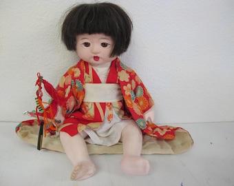 Japanese Girl Doll Ichimatsu Gofun Glass Eyes Red Kimono