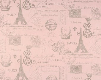 Pink French Fabric by the BOLT Script Eiffel tower upholstery Bella pink storm grey home decor Premier Prints 30 yards!