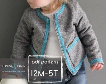 Coco Jacket pattern and tutorial 12M-5T holiday jacket  coat bolero PDF