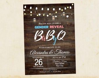 BabyQ Gender Reveal Invitation, Baby-Q Shower Invitation, Baby BBQ, Couples Gender Reveal Baby Shower Invitation, Instant Download, Editable