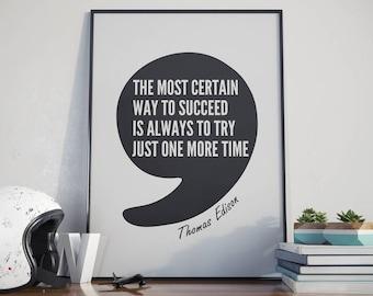 Thomas Edison Quote, Printable Art, Inspirational Print, Motivational Poster, Instant Download, Digital Download, Home Decor, Office Decor
