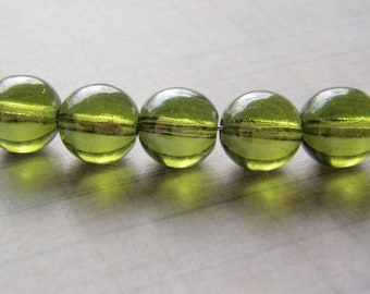 Olive Green Shimmer Beads Smooth Round Czech Glass 20 Beads