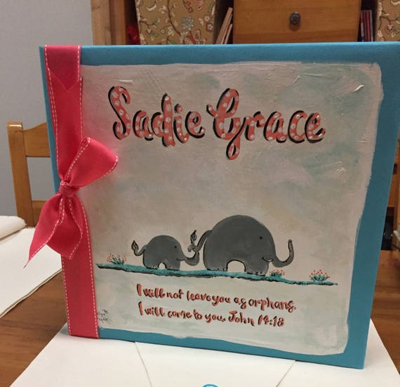 Adoption Baby Book | Cute Elephant Adoption Baby Book | I will not leave you as orphans.  I will come to you.  John 14:18 | Keepsake Book