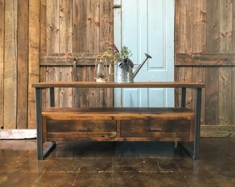 Reclaimed Wood Media Console / Industrial TV Stand / 2 Drawer