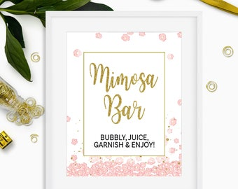 Mimosa Bar Bridal Shower Sign DIY Printable-Pink and Gold Glitter Bubbly Bar Sign-Birthday Party Floral Sign-Mimosa Table Pink Floral Sign-