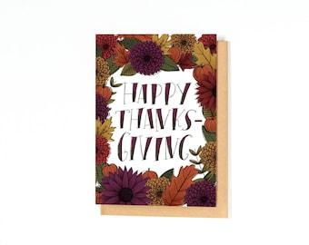 Happy Thanksgiving Card - Fall Greeting Card - Thanksgiving Greetings - Autumn Card - Floral Illustration - Mums - Pumpkins - Foliage