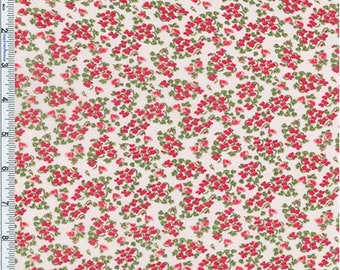 Red/White Floral Crepe Georgette, Fabric By The Yard