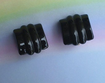 Vintage 80s Deco Monet Black Earrings