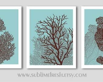 Underwater Sea Coral Beach Home Decor Prints, Set of 3