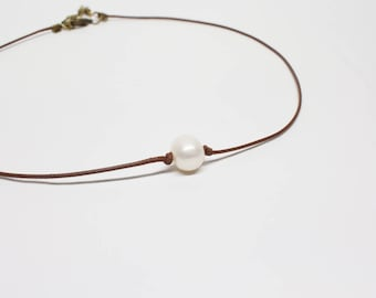 Single Freshwater Pearl Necklace - korean waxed cord brown or black, small pearl necklace choker, gift inspiration