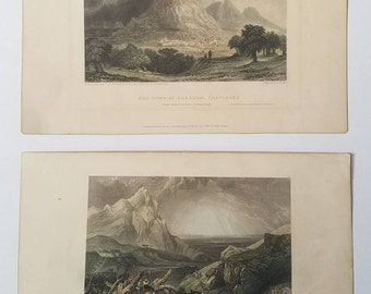 """2 Antique Engraved prints 1834 """"Distant View of Arimathea (Ramlah)"""" """"The Town of Shechem (Naplous)"""" Standfield, Fitzmaurice, Finden"""