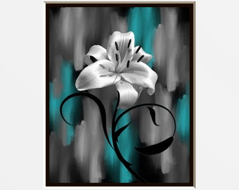 Teal Gray Lily Flower Decor, Teal Picture, Modern Teal Gray Bedroom  Bathroom Wall Art Matted Picture