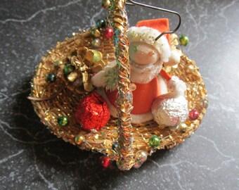 Vintage Santa Claus Ornament 1950's in a Gold Sparkly Basket Retro Christmas Decoration