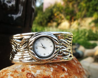 Handcrafted 925 Sterling Silver Watch, Cuff Bracelet, Unique Design by Poran, Artistic Jewelry, Made In Israel