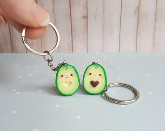 Heart Avocado friendship keychain Best friend keychain BFF keychain Food keychgain Vegan jewelry Kawaii keychain Best friend gift Valentines