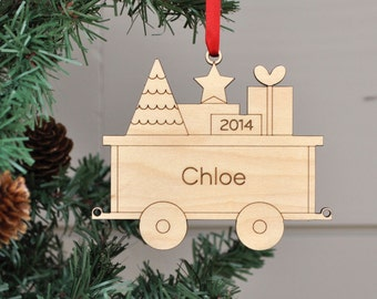 Wooden Train Car Ornament: Personalized Name & Date, Kids, Family, Baby's First Christmas 2018 (PACKAGE CAR)