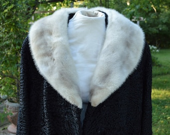 New Lower Price! VINTAGE COAT--Curly Lamb with Mink Collar// Black fur coat// c. 1960's