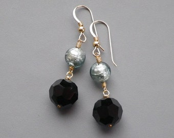 Black Crystal Silver Murano Gold Earrings