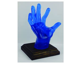DARK BLUE, POP-Hands, Colorful device holder for phones, tablets, business cards, etc. Customize the color of the base.