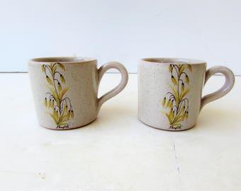 Set of 2 Vintage Espresso Mugs - Floral Mugs - Mini Stoneware Mugs - Yellow Floral - Beige Splatter Cup - Panfile -