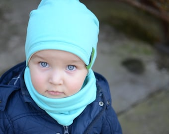 Slouchy Beanie Hat, Kids Slouchy Beanie Hat, Cotton Toddler Beanie Hat, Teal Beanie 2IN1, Kids Cotton Slouchy Hat, Double Layer Beanie