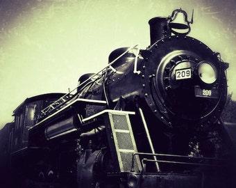 Train Room Decor, Black and White Photo, Old Train Photo