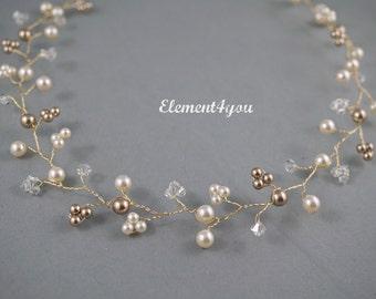 Bridal hair vines, Bridal hair accessory, Champagne gold hair vines, Pearls Crystals silver hair vines.