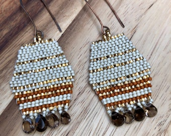 Gold and silver brickstitch earrings, smokey topaz seedbead earrings, neutral earth tones woven beaded earrings