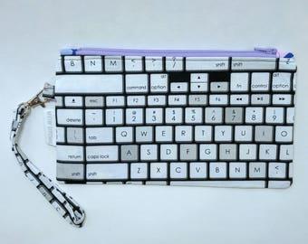 Apple Keyboard Wristlet - Purple Zipper