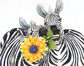 My Sunshine  Fine Art Giclee print of two playful zebras - Original Watercolor Painting by Holly J. Kroening