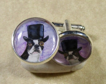 Boston Terrier Cufflinks, Boston Terrier Mens Gifts, Boston Terrier Gifts, Gift for Boston Terrier Dad, Boston Terrier Bridal Jewelry