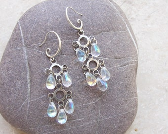 Raindrop Earrings Crystals and Metal Aurora Borealis