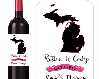 Wedding Wine Labels Personalized Map Labels Michigan Silhouette Maps