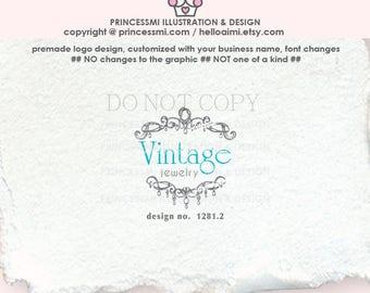 1281-2  jewellery logo, vintage logo, logo branding,  boutique logo, business branding, business logo design, watermark, photography logo