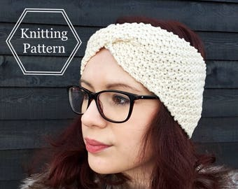 Emily Twist Cabled Headband Knitting Pattern | Earwarmer Knitting Pattern | Knit Headband Pattern | Beginners Knitting Pattern | Easy Knit