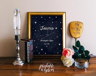 Pépinière du zodiaque astrologie art imprimable, personnalisé nom pépinière décor imprimée, personnalisée, numérique typographie étoiles signe astrologique
