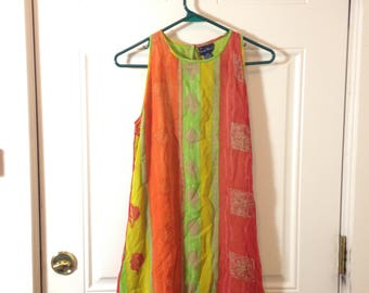 Sacred Threads Subdued Neon Ethnic Print 1980s 80s 1990s 90s India Indian Sundress Dress Sz XS/S/M Extra Small Medium