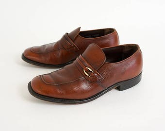 Vintage 1960s 70s Men Size 7.5-8 Shoes, Nunn Bush Business Casual Loafers VGC Brown Pebbled Leather Mad Men Style