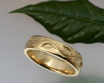 WEDDING BAND Leaf and Vine Design, 5.5mm Wide,  Your Choice of 14k yellow , rose or white gold
