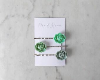 Flower Hair Clip Set, Succulent Hair Clip, Greenery Hair Accessories, Bridesmaid Gift, Gift For Her, Flower Hair Accessories, Nature Gift