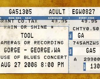 TOOL Concert Ticket Stub, George, WA 2006