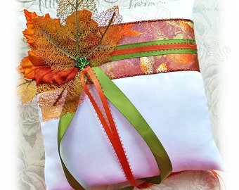 Fall leaves wedding ring bearer pillow, burnt orange and green wedding ring cushion